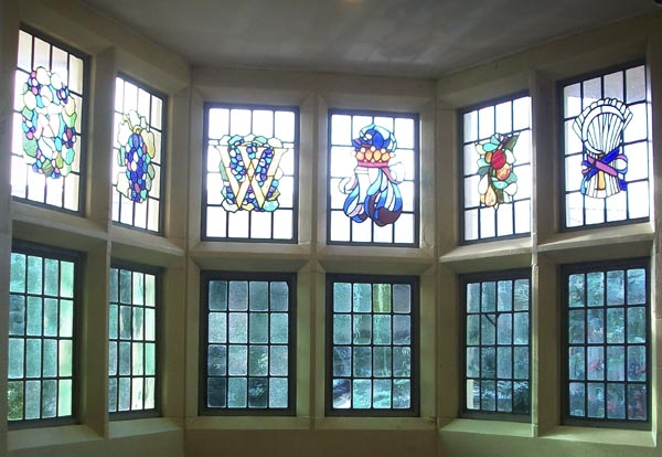 Interior pic of pub stained glass windows